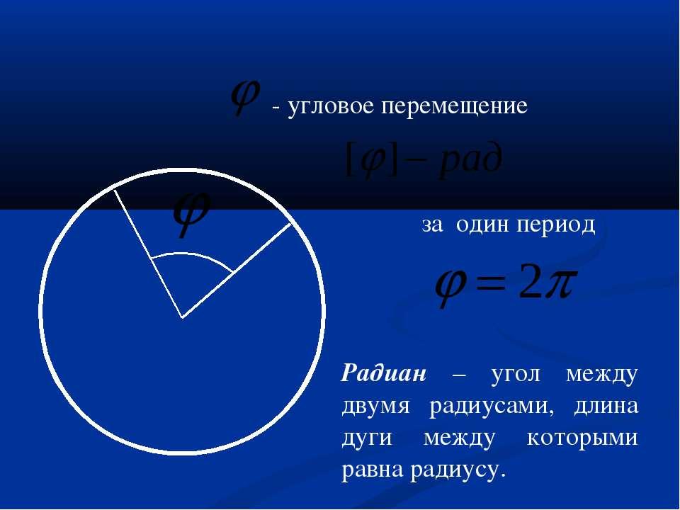 - угловое перемещение за один период Радиан – угол между двумя радиусами, дли...