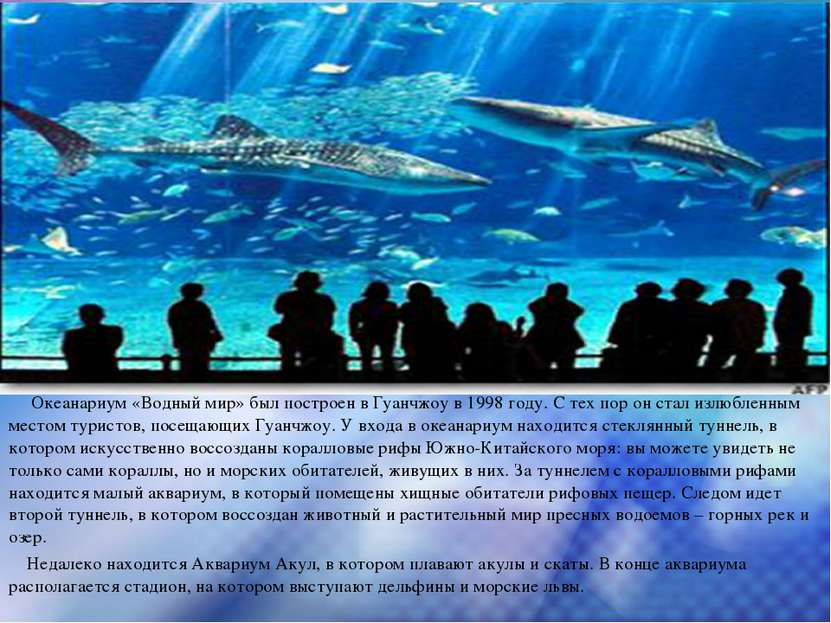 Океанариум «Водный мир» был построен в Гуанчжоу в 1998 году. С тех пор он ста...