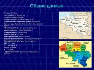 Общие данные Площадь - 30 528 км² Население(2005 г.)- 10,8 млн. чел. Столица-...