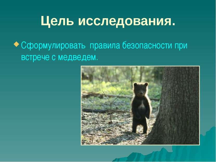 Цель исследования. Сформулировать правила безопасности при встрече с медведем.