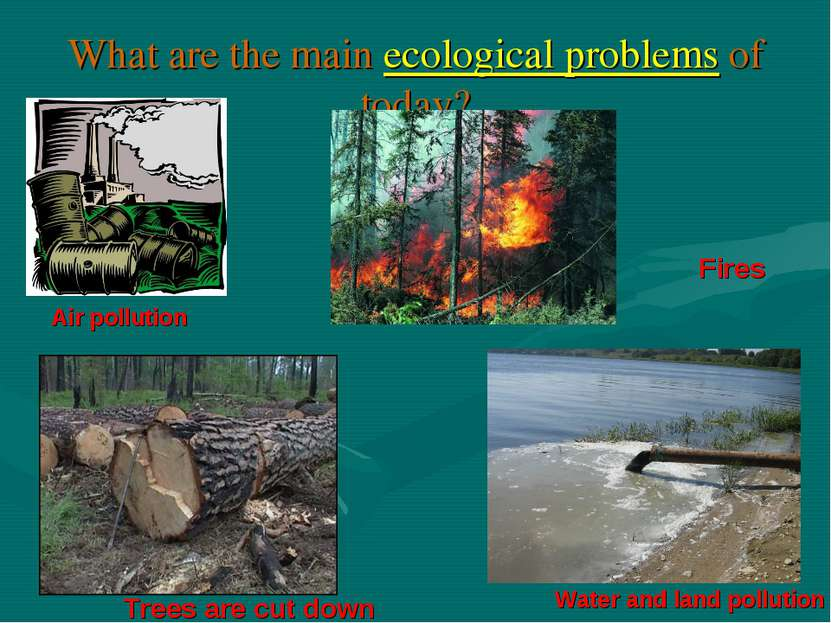 What are the main ecological problems of today? Air pollution Water and land ...