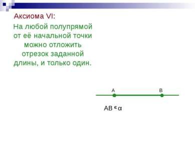 Аксиома VI: На любой полупрямой от её начальной точки можно отложить отрезок ...