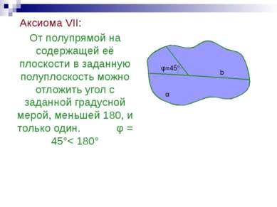 Аксиома VII: От полупрямой на содержащей её плоскости в заданную полуплоскост...