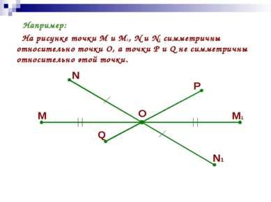 Например: На рисунке точки М и М1, N и N1 симметричны относительно точки О, а...