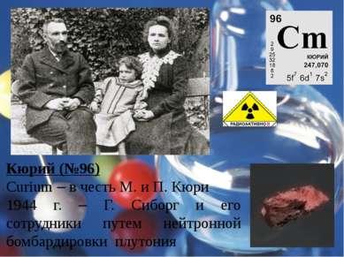 Кюрий (№96) Curium – в честь М. и П. Кюри 1944 г. – Г. Сиборг и его сотрудник...