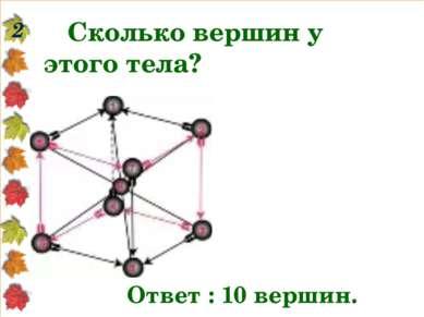 Сколько вершин у этого тела? 2 Ответ : 10 вершин.