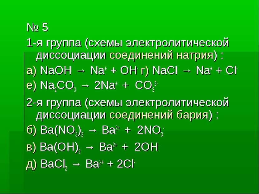 № 5 1-я группа (схемы электролитической диссоциации соединений натрия) : а) N...