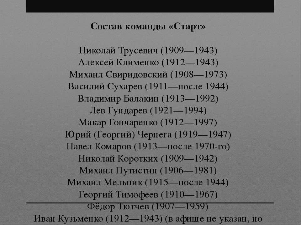 Состав команды «Старт» Николай Трусевич (1909—1943) Алексей Клименко (1912—19...