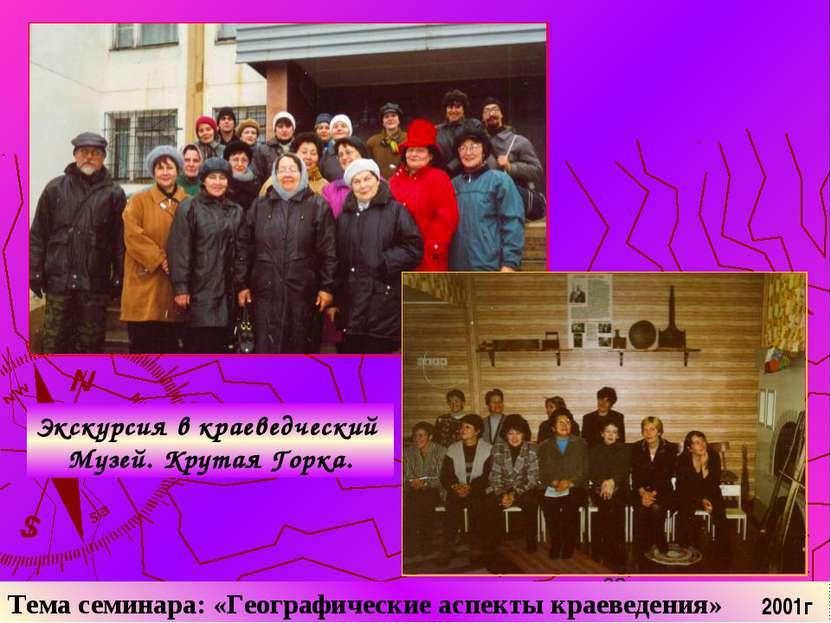 Тема семинара: «Географические аспекты краеведения» Экскурсия в краеведческий...