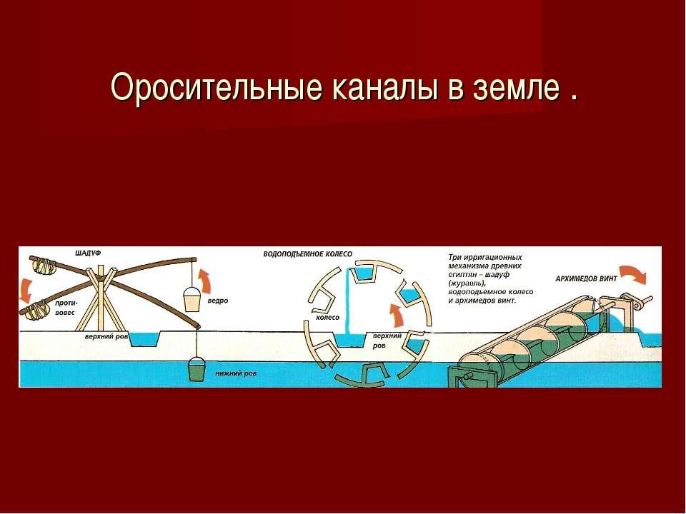 Оросительные каналы в земле .