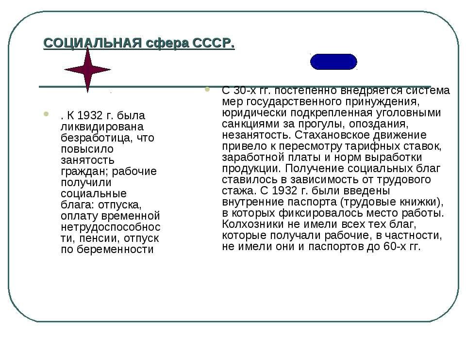 СОЦИАЛЬНАЯ сфера СССР. . К1932г. была ликвидирована безработица, что повыси...