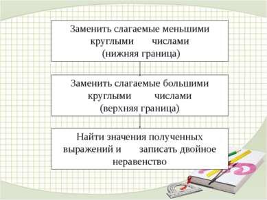 Найти значения полученных выражений и записать двойное неравенство Заменить с...