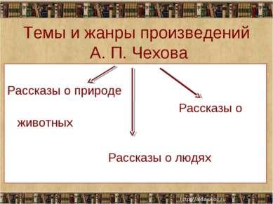 Темы и жанры произведений А. П. Чехова Рассказы о природе Рассказы о животных...