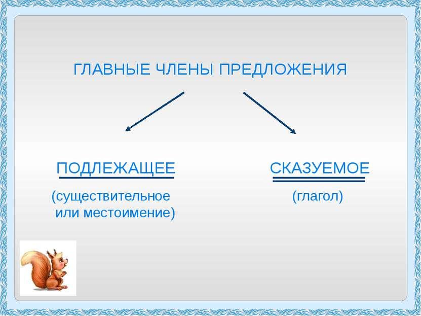ГЛАВНЫЕ ЧЛЕНЫ ПРЕДЛОЖЕНИЯ ПОДЛЕЖАЩЕЕ СКАЗУЕМОЕ (существительное (глагол) или ...