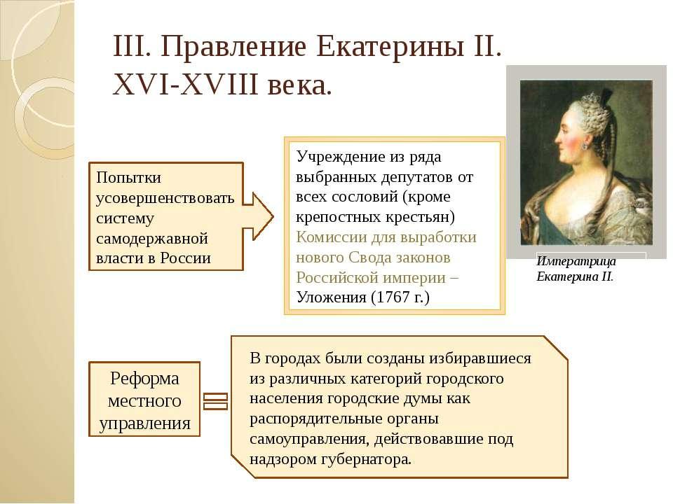 III. Правление Екатерины II. XVI-XVIII века. Попытки усовершенствовать систем...