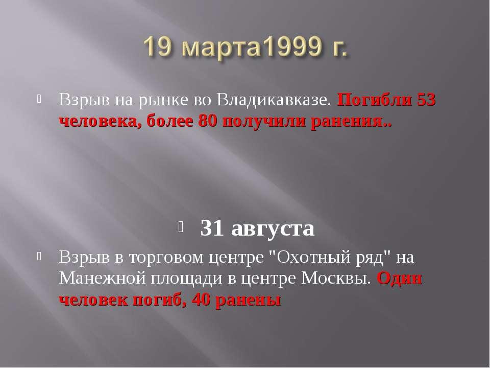 Взрыв на рынке во Владикавказе. Погибли 53 человека, более 80 получили ранени...
