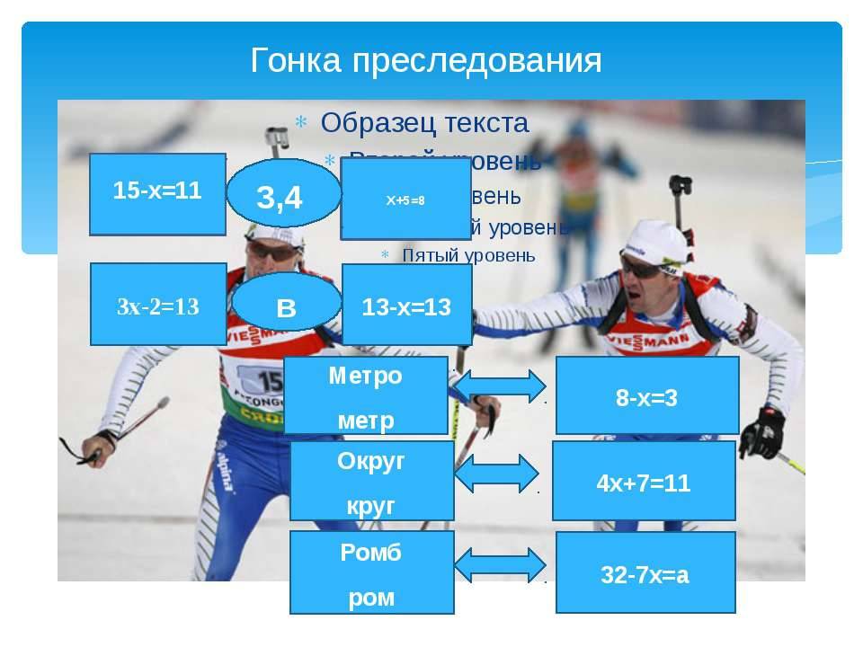 Гонка преследования Х+5=8 3,4 15-х=11  3х-2=13 13-х=13 в Метро метр