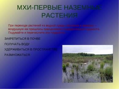 МХИ-ПЕРВЫЕ НАЗЕМНЫЕ РАСТЕНИЯ При переходе растений из водной среды обитания в...