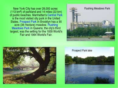 New York City has over 28,000 acres (113km²) of parkland and 14 miles (22km...