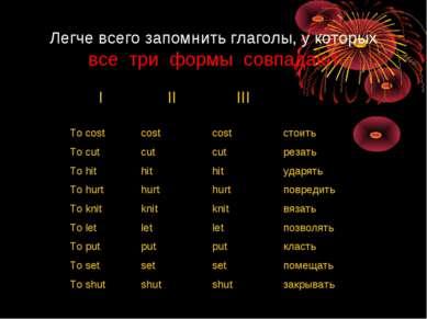 Легче всего запомнить глаголы, у которых все три формы совпадают I II III To ...