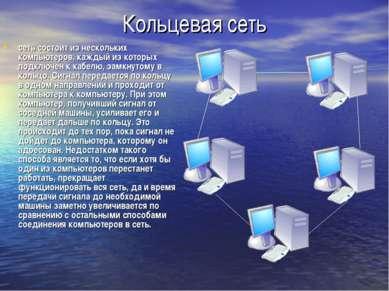 Кольцевая сеть сеть состоит из нескольких компьютеров, каждый из которых подк...