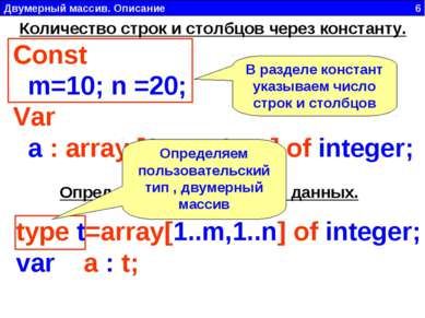 Двумерный массив. Описание 6 Const  m=10; n =20; Var  a : array [1.. m, 1.....