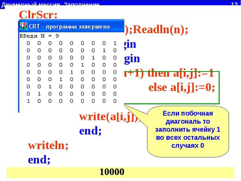 Двумерный массив. Заполнение 13 a11 a22 a23 a32 a33 a14 a41 a44 1 2 3 4 1 2 3...