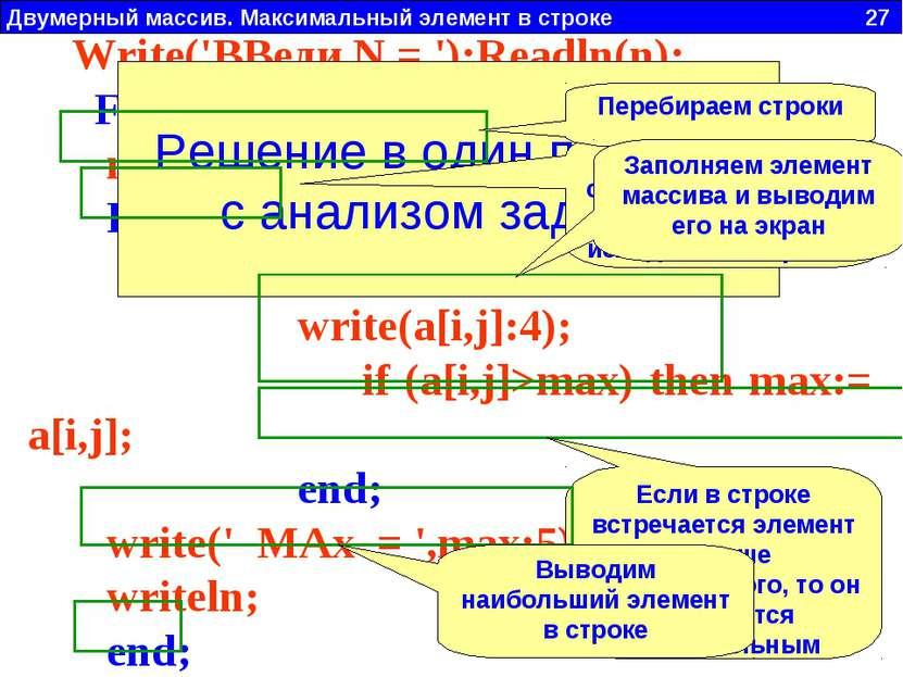 Двумерный массив. Максимальный элемент в строке 27 Write('ВВеди N = ');Readln...