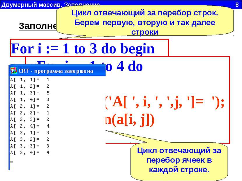 For i := 1 to 3 do begin For j := 1 to 4 do begin write('A[ ', i, ', ',j, ']=...