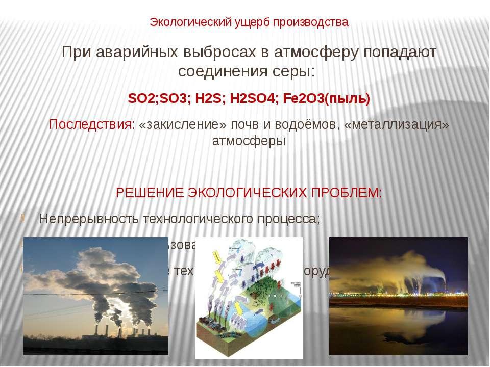 Экологический ущерб производства При аварийных выбросах в атмосферу попадают ...
