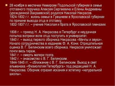 28 ноября в местечке Немирове Подольской губернии в семье отставного поручика...