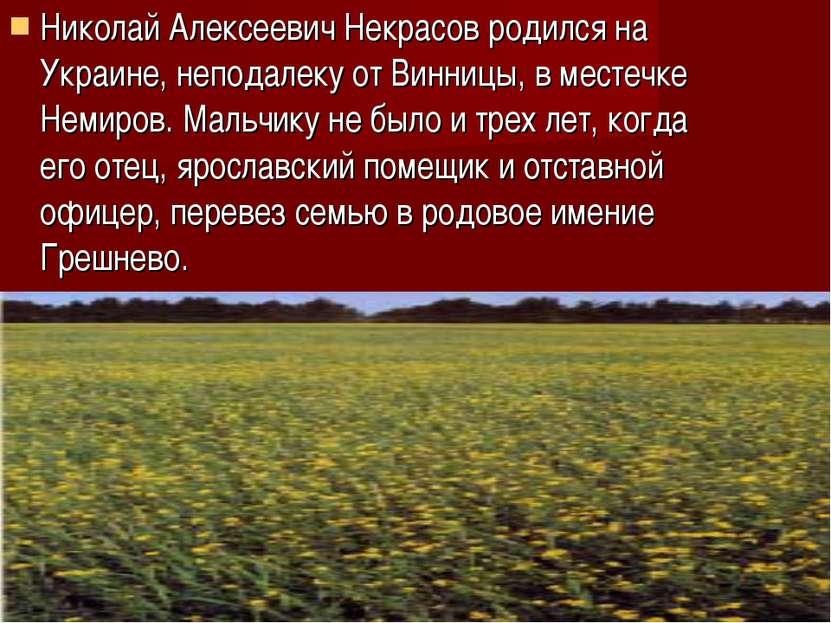 Николай Алексеевич Некрасов родился на Украине, неподалеку от Винницы, в мест...