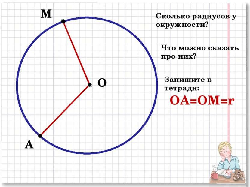 О М А Сколько радиусов у окружности? Что можно сказать про них? Запишите в те...