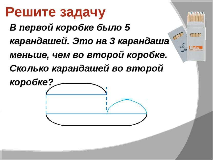 Решите задачу В первой коробке было 5 карандашей. Это на 3 карандаша меньше, ...