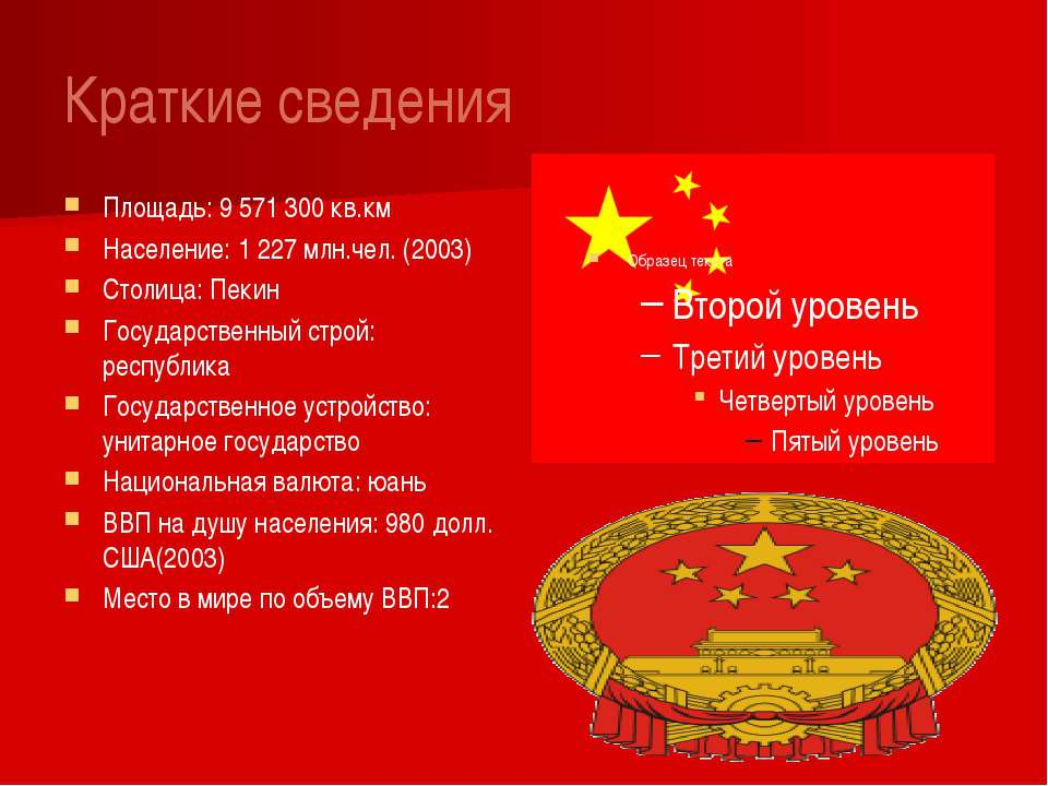 Краткие сведения Площадь: 9 571 300 кв.км Население: 1 227 млн.чел. (2003) Ст...