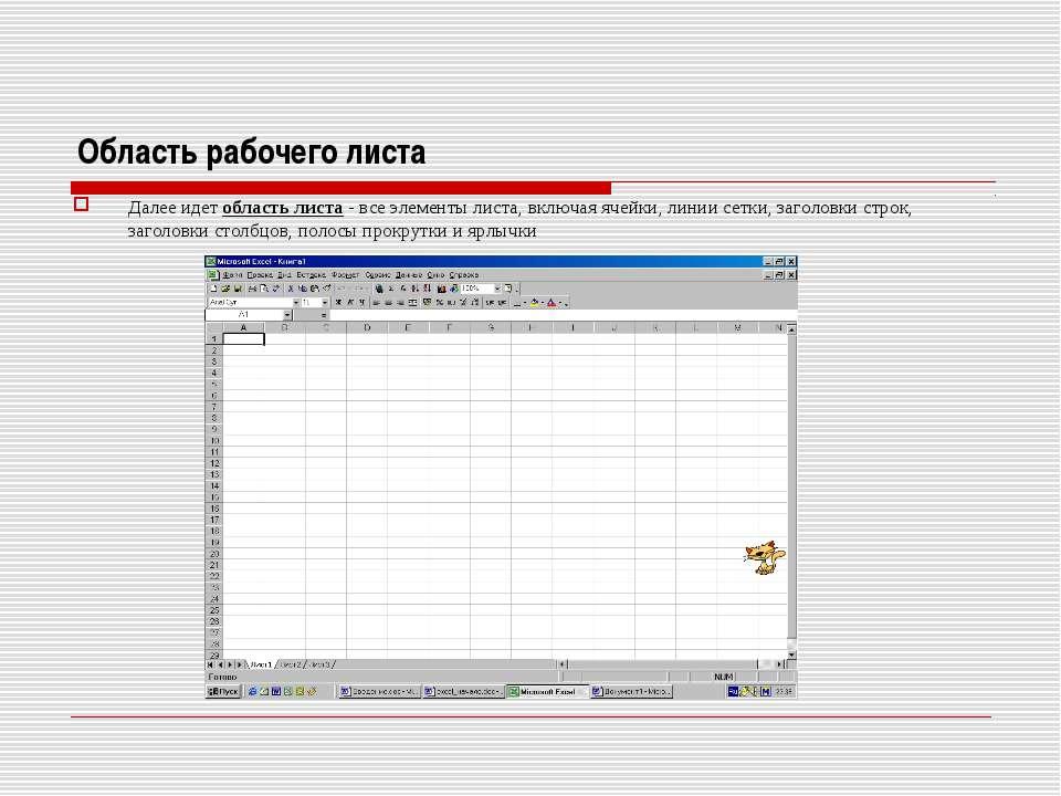 Область рабочего листа Далее идет область листа - все элементы листа, включая...