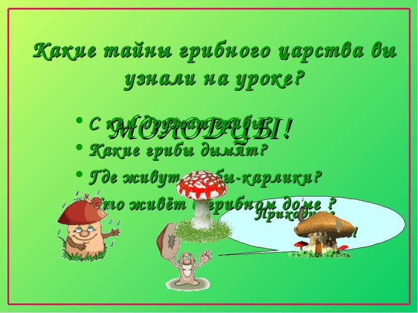 Какие тайны грибного царства вы узнали на уроке? Приходите в лес! МОЛОДЦЫ! С ...