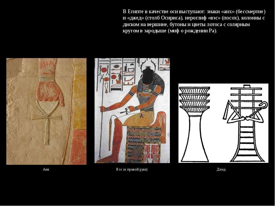 В Египте в качестве оси выступают: знаки «анх» (бессмертие) и «джед» (столб О...