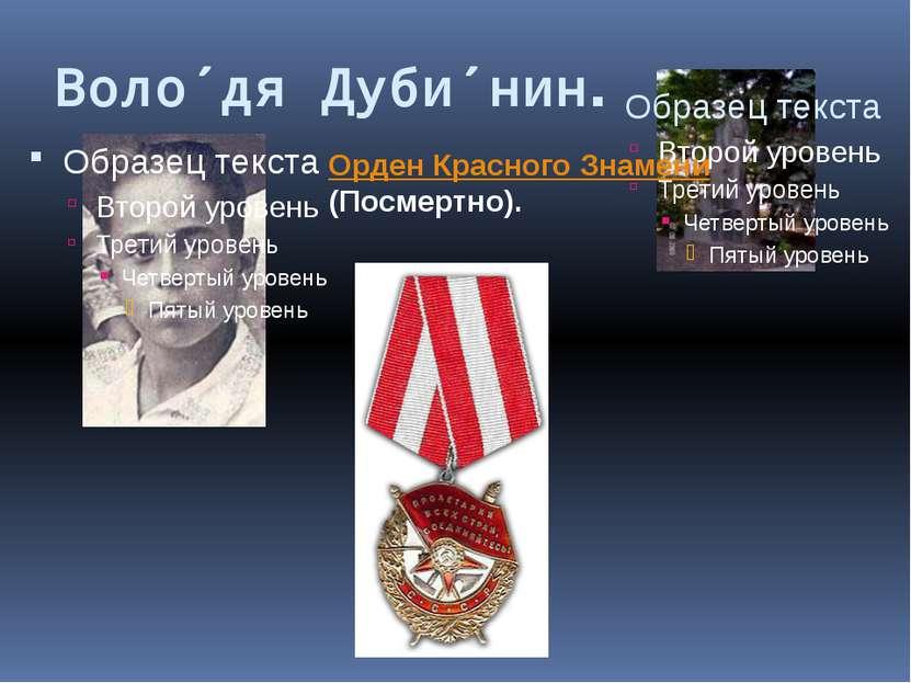 Воло дя Дуби нин Орден Красного Знамени (Посмертно).