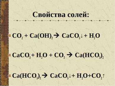 Свойства солей: СО2 + Са(ОН)2 СаСО3↓ + Н2О СаСО3 + Н2О + СО2 Са(НСО3)2 Са(НСО...