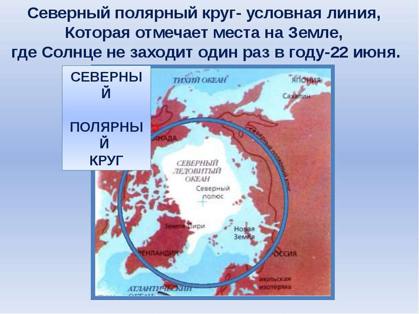 Северный полярный круг- условная линия, Которая отмечает места на Земле, где ...