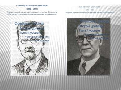СЕРГЕЙ СЕРГЕЕВИЧ ЧЕТВЕРИКОВ (1882 – 1959) Отечественный ученый, эволюционист ...