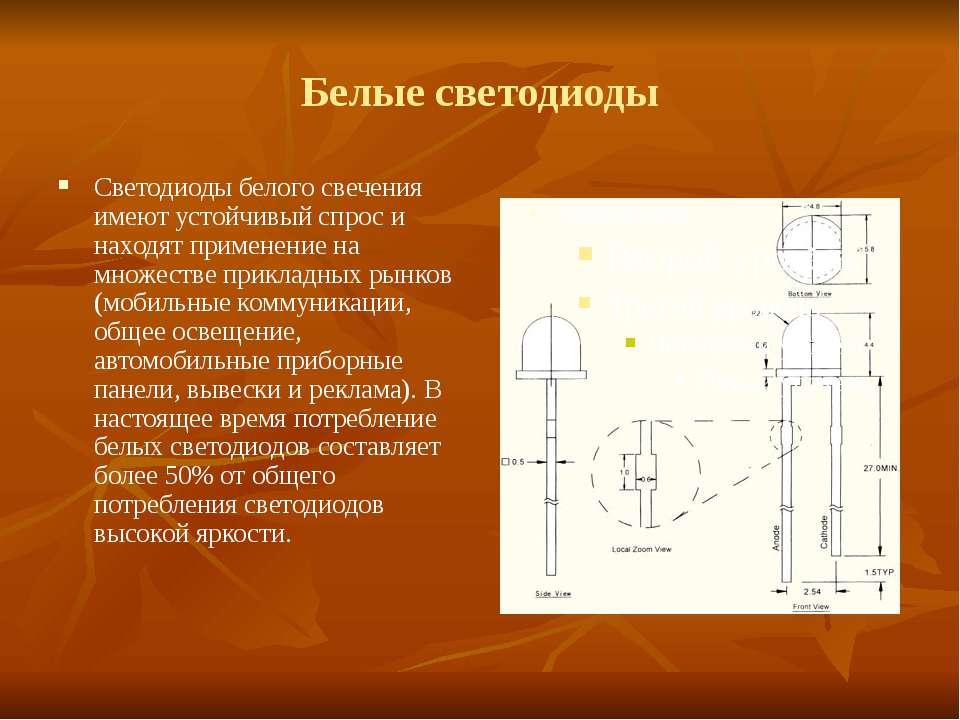 Белые светодиоды Светодиоды белого свечения имеют устойчивый спрос и находят ...