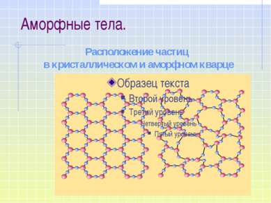 Расположение частиц в кристаллическом и аморфном кварце Аморфные тела.