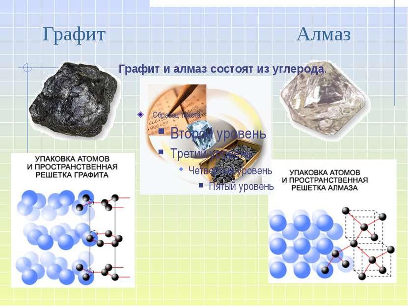 Графит Алмаз Графит и алмаз состоят из углерода.