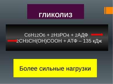 ГЛИКОЛИЗ C6H12O6 + 2H3PO4 + 2АДФ 2CH3CH(OH)COOH + AТФ – 135 кДж Более сильные...