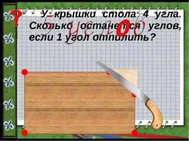 У крышки стола 4 угла. Сколько останется углов, если 1 угол отпилить?
