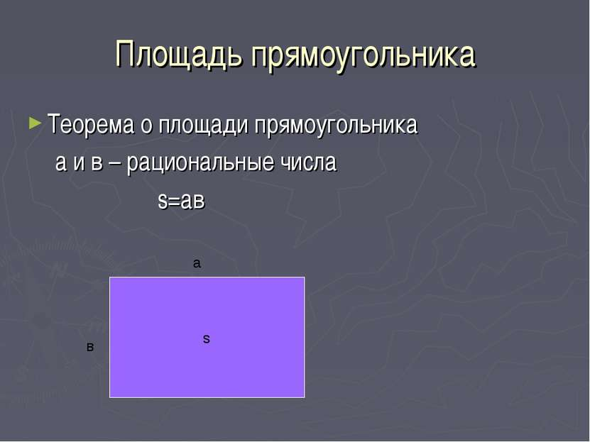 Площадь прямоугольника Теорема о площади прямоугольника а и в – рациональные ...