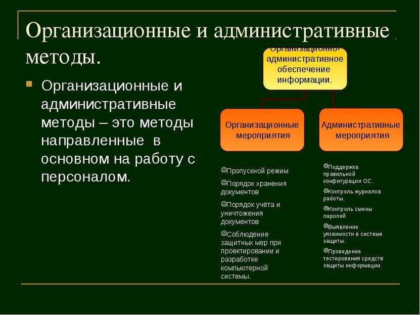 Организационные и административные методы. Организационные и административные...