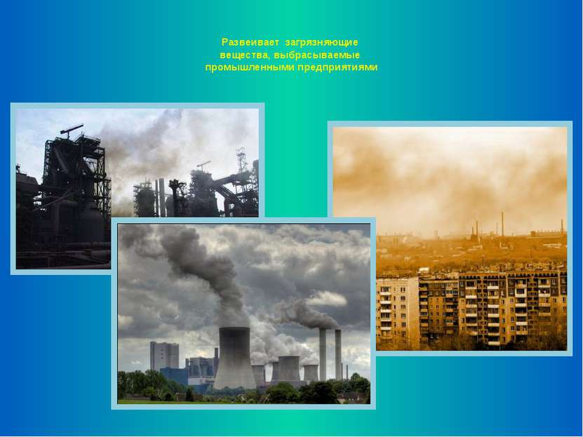 Развеивает загрязняющие вещества, выбрасываемые промышленными предприятиями